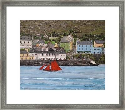 Galway Hooker Sailing Past Roundstone Connemara Ireland Framed Print by Diana Shephard