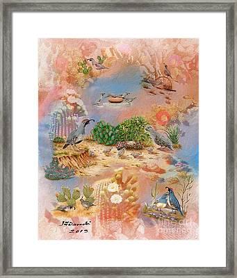 Gambel Quail Collage-southwest Art Framed Print