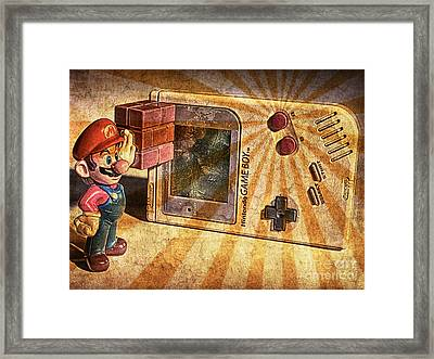 Game Boy And Mario - Vintage Framed Print