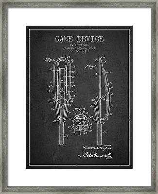 Game Device Patent From 1937- Charcoal Framed Print