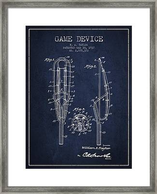 Game Device Patent From 1937- Navy Blue Framed Print