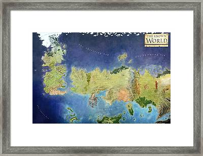 Game Of Thrones World Map Framed Print