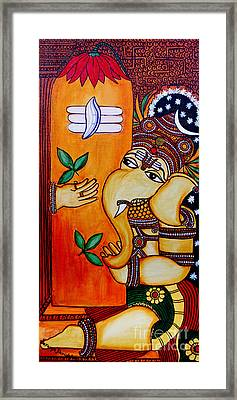 Framed Print featuring the painting Ganapathy by Saranya Haridasan