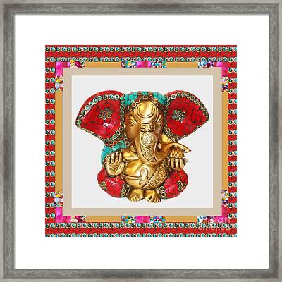 Ganapati Ganesh Idol Hinduism Religion Religious Spiritual Yoga Meditation Deco Navinjoshi  Rights M Framed Print
