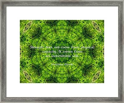 Gandhi Inspirational Motivational Quote About Willpower  Framed Print by Quintus Wolf