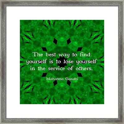 Gandhi Inspirational Quote About Self-help  Framed Print