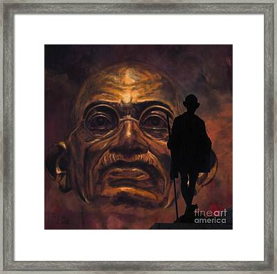 Gandhi - The Walk Framed Print by Richard Tito