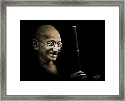 Gandhi Walking To The Sea Framed Print