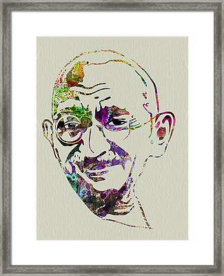 Gandhi Watercolor Framed Print by Naxart Studio