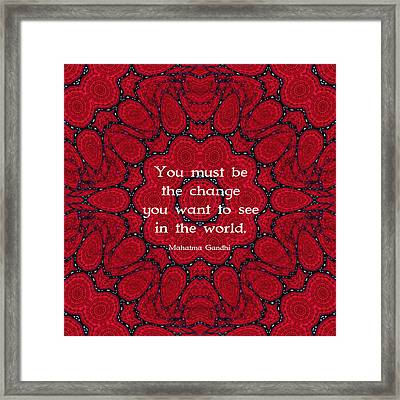 Gandhi Wisdom Quotation About Action Framed Print by Quintus Wolf