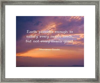 Gandhi Wisdom Quote About Satisfaction Framed Print by Quintus Wolf