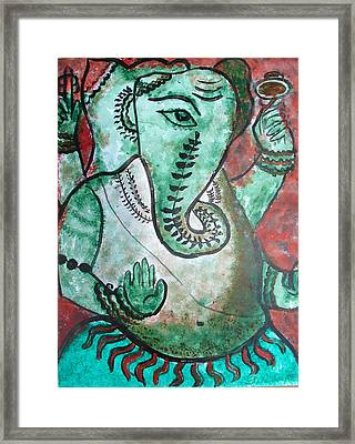 Framed Print featuring the painting Ganesh 10 by Anand Swaroop Manchiraju