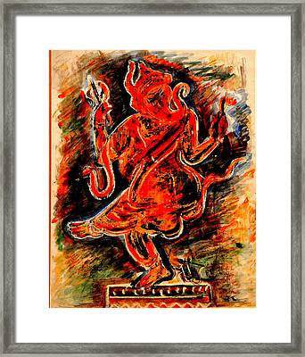 Framed Print featuring the painting Ganesh- 6 by Anand Swaroop Manchiraju