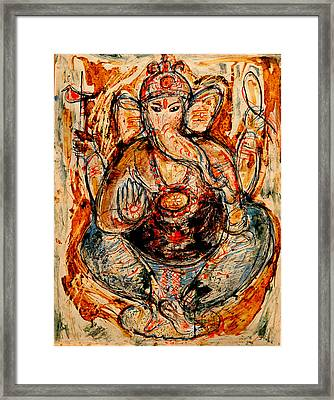 Framed Print featuring the painting Ganesh- 7 by Anand Swaroop Manchiraju