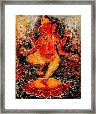 Framed Print featuring the painting Ganesh- 8 by Anand Swaroop Manchiraju