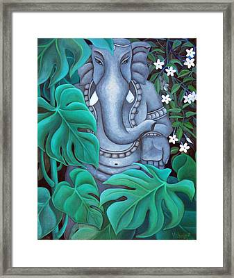 Ganesh With Jasmine Flowers 2 Framed Print