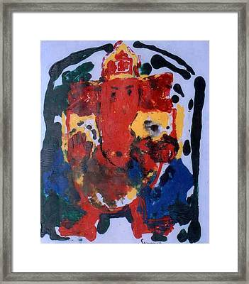 Framed Print featuring the painting Ganesha-a3 by Anand Swaroop Manchiraju