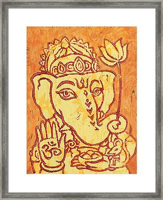 Ganesha Gold And Maroon Framed Print by Jennifer Mazzucco