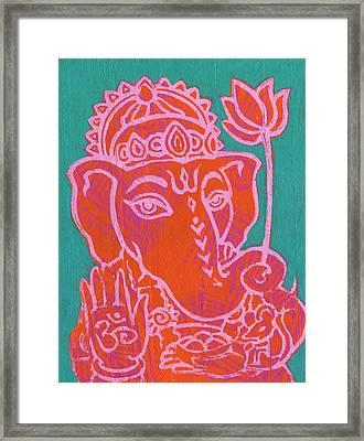 Ganesha Hot Pink Orange Teal Framed Print