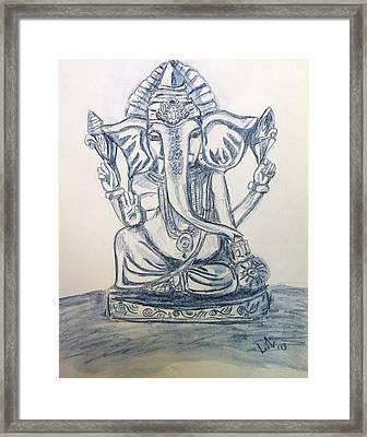 Ganesha In Blue Framed Print by LeNae Goolsby