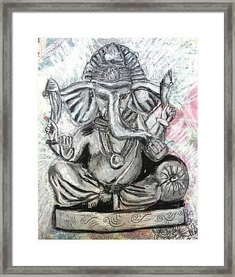 Ganesha In Charcoal Framed Print by LeNae Goolsby