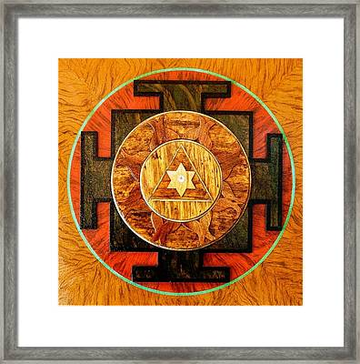 Ganesha Sacred 3d High Relief Artistically Crafted Wooden Yantra    23in X 23in Framed Print by Peter Clemens