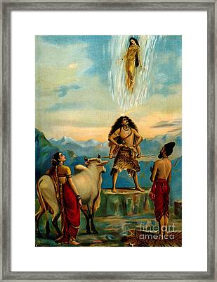 Ganga And The River Ganges Falling Framed Print by Wellcome Images
