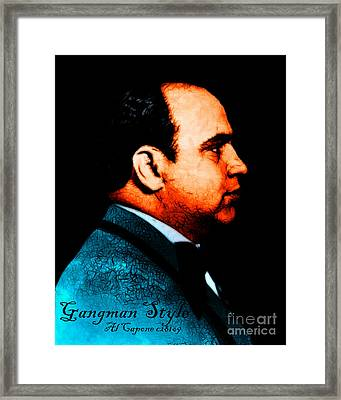Gangman Style - Al Capone C28169 - Black - Painterly Framed Print by Wingsdomain Art and Photography