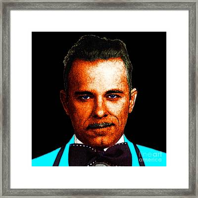 Gangman Style - John Dillinger 13225 - Black - Color Sketch Style Framed Print by Wingsdomain Art and Photography