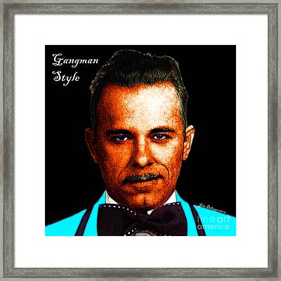 Gangman Style - John Dillinger 13225 - Black - Color Sketch Style - With Text Framed Print by Wingsdomain Art and Photography