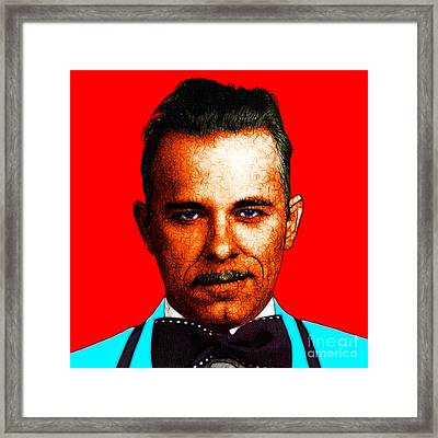 Gangman Style - John Dillinger 13225 - Red - Color Sketch Style Framed Print by Wingsdomain Art and Photography