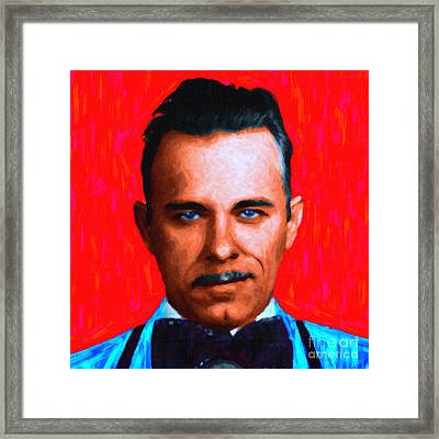 Gangman Style - John Dillinger 13225 - Red - Painterly Framed Print by Wingsdomain Art and Photography