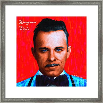 Gangman Style - John Dillinger 13225 - Red - Painterly - With Text Framed Print by Wingsdomain Art and Photography