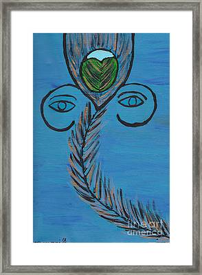 Ganpati Peacock Feather Framed Print by Melissa Vijay Bharwani