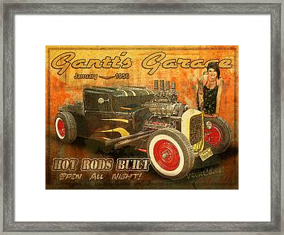 Gantt's Garage Open All Night Framed Print