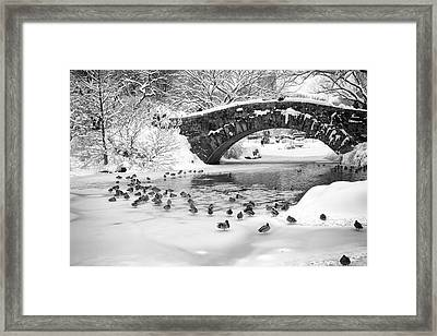 Framed Print featuring the photograph Gapstow Bridge In Snow by Dave Beckerman