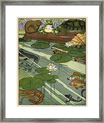 Garada Clark Riley Living Pond With Frog Turtle Lily Pads Fish Crawfish Mouse Snail Lizard Etc Framed Print by Pierpont Bay Archives