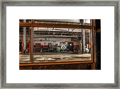 Framed Print featuring the photograph Garage Window by Ray Congrove