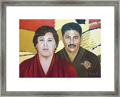 Garcia Family Portrait  Retrato De La Pareja Garca Framed Print by Fernando A Hernandez