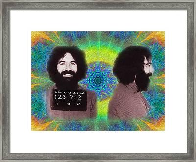 Garcia Mugshot Tye Dye Framed Print by Bill Cannon