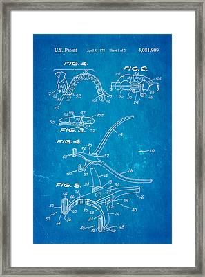 Garcia Orthodontic Pliers Patent Art 1978 Blueprint Framed Print by Ian Monk