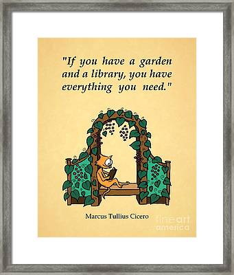 Framed Print featuring the drawing Garden And Library by Pet Serrano