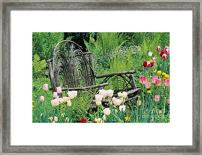 Framed Print featuring the photograph Garden Bench by Alan L Graham