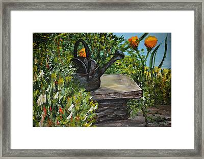 Framed Print featuring the painting Garden Bench by Debbie Baker