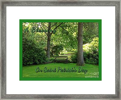 Garden Bench On Saint Patrick's Day Framed Print