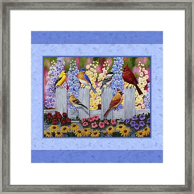 Garden Birds Duvet Cover Blue Framed Print