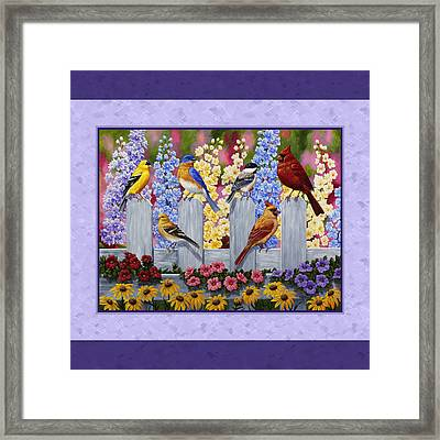 Garden Birds Duvet Cover Purple Framed Print by Crista Forest