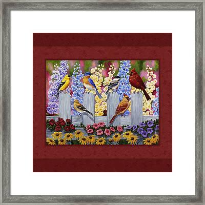 Garden Birds Duvet Cover Red Framed Print