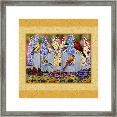 Garden Birds Duvet Cover Yellow Framed Print by Crista Forest