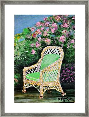 Framed Print featuring the painting Garden Chair by Debbie Baker
